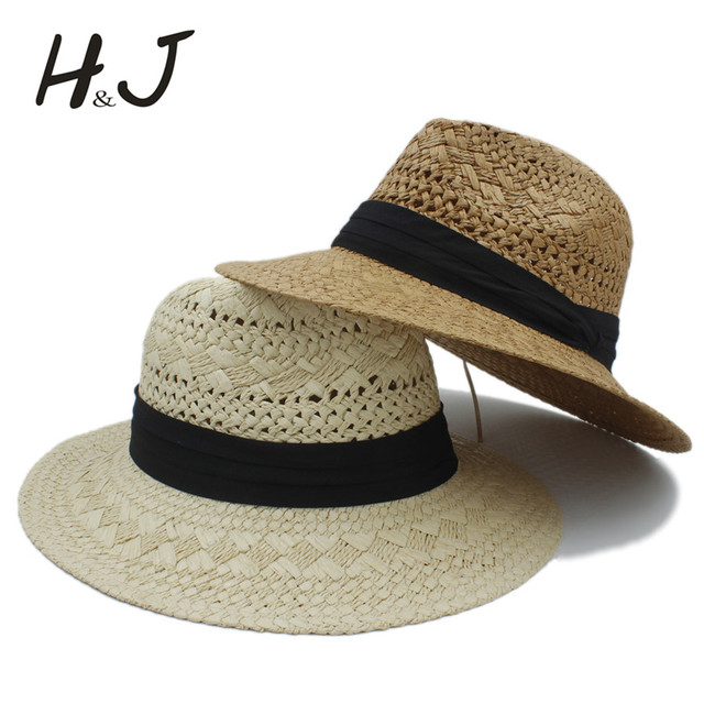 855cd4683ca Handwork Summer Women Men Raffia Straw Sun Hat For Elegant Lady Wide Brim  Panama Hat Gentleman Fedora Cap sunbonnet Beach Hats