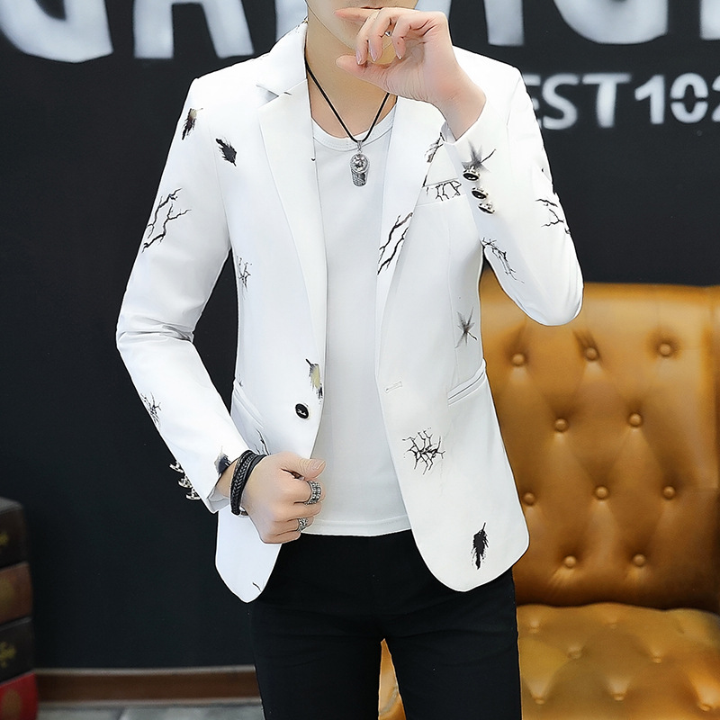 2019 Youth Slim   blazer Men Fashion Casual Spring Print blazer(China)