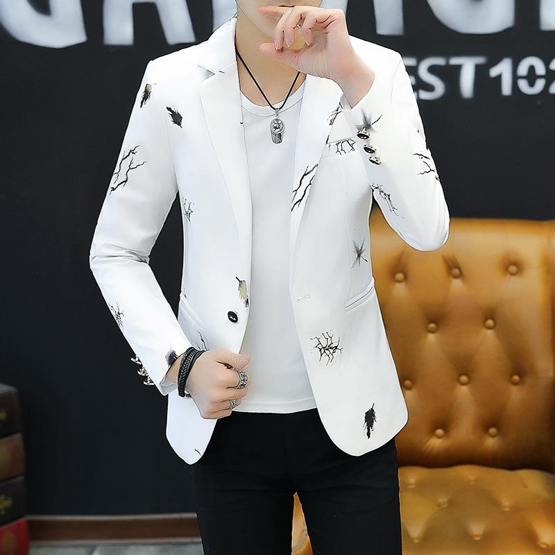 HOO 2021 Youth Slim   blazer Men Fashion Casual Spring Print suit jacket