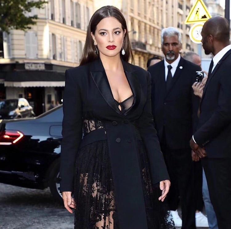 Femme Début Petit Printemps Manches Costume Du Nouveau Sexy 2019 Dentelle Qualité Couture Noir Veste Longues Perspective Au Piste Haute À Irrégulière 4wHBC