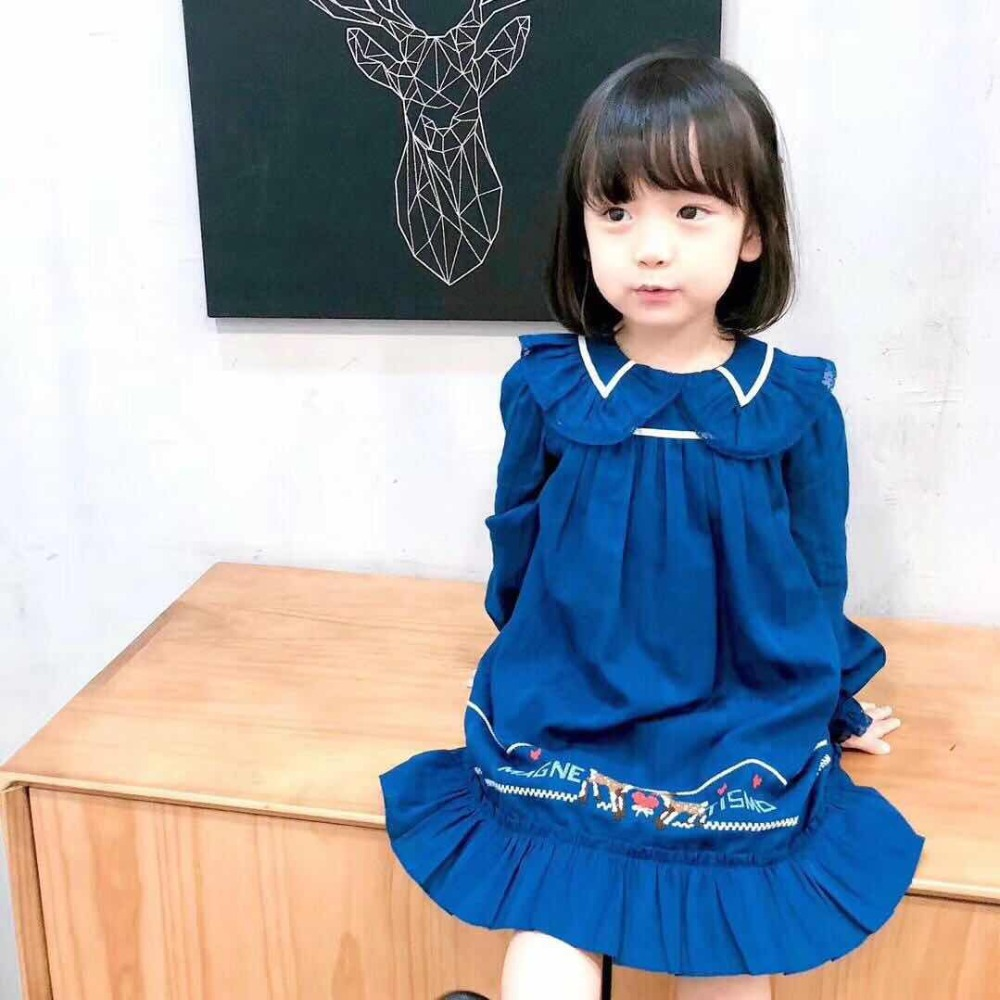 цена на Brand Turn Down Colllar Dress Girls Princess Party Dark Blue Dresses Toddler Petticoat Girls Autumn Clothing Kids Clothes Dress