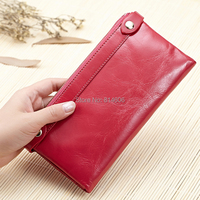 Lomelobo Oil wax cowhide Women's Genuine Leather long style wallet , women's wallets purses , Lady's Handbags HDPL 3274A