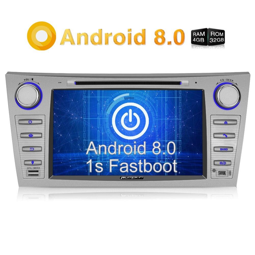 Citrouille 2 Din 8 ''Android 8.0 Voiture Lecteur DVD GPS Navigation Autoradio FM Rds Radio Headunit Pour Toyota camry/Aurion 2007-2011