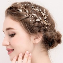 Handmade Leaf Gold Bridal Hair Claws Elegant Crystal Rhinestone Hairwear Jewelry Accessories for Wedding Women Headpiece