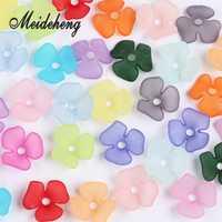 22mm acrílico esmerilado flor granos transparente frijol espacio para la fabricación de joyas diseño collar de colocación accesorio para el cabello 45 Uds