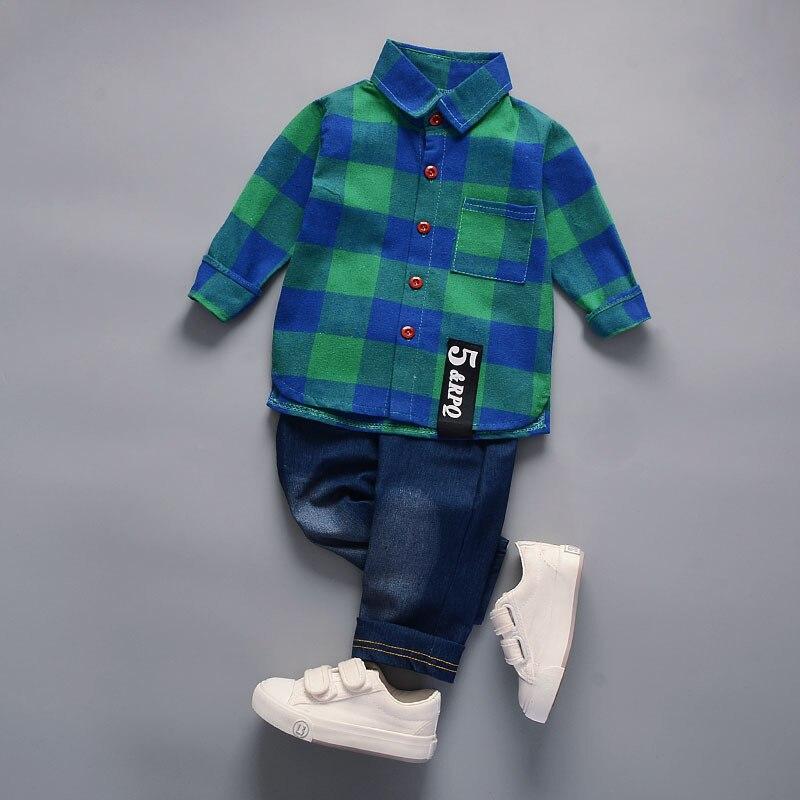Children clothes Cotton plaid T-Shirt +denim Pants 2 Pcs Sport Suit kids clothes boys Set casual spring toddler outfits Costumes Boy Kids cb5feb1b7314637725a2e7: Green|Red|White