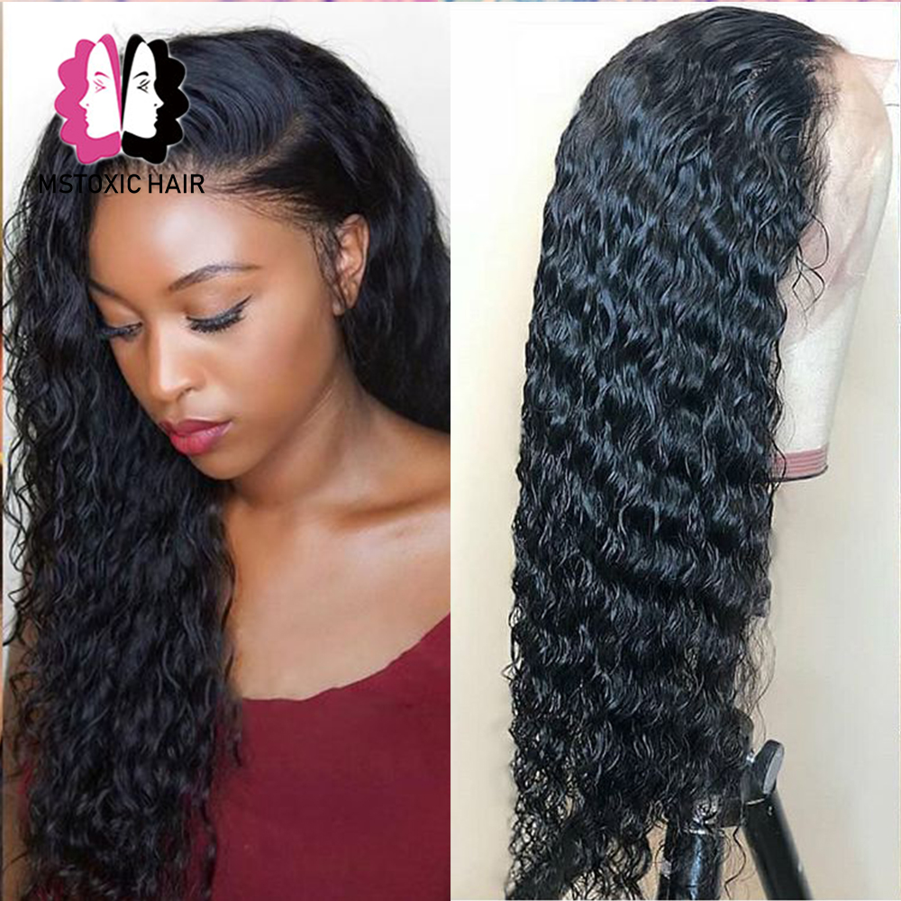 Mstoxic Lace Front Human Hair Wigs Pre Plucked Brazilian Water Wave Lace Front Wig For Women