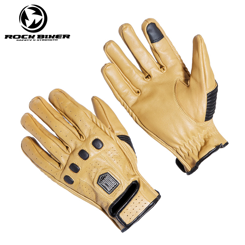 ROCK BIKER Retro Summer Touch Screen Real Leather Motorcycle Racing Gloves Motocross Protective Gears Riding Training