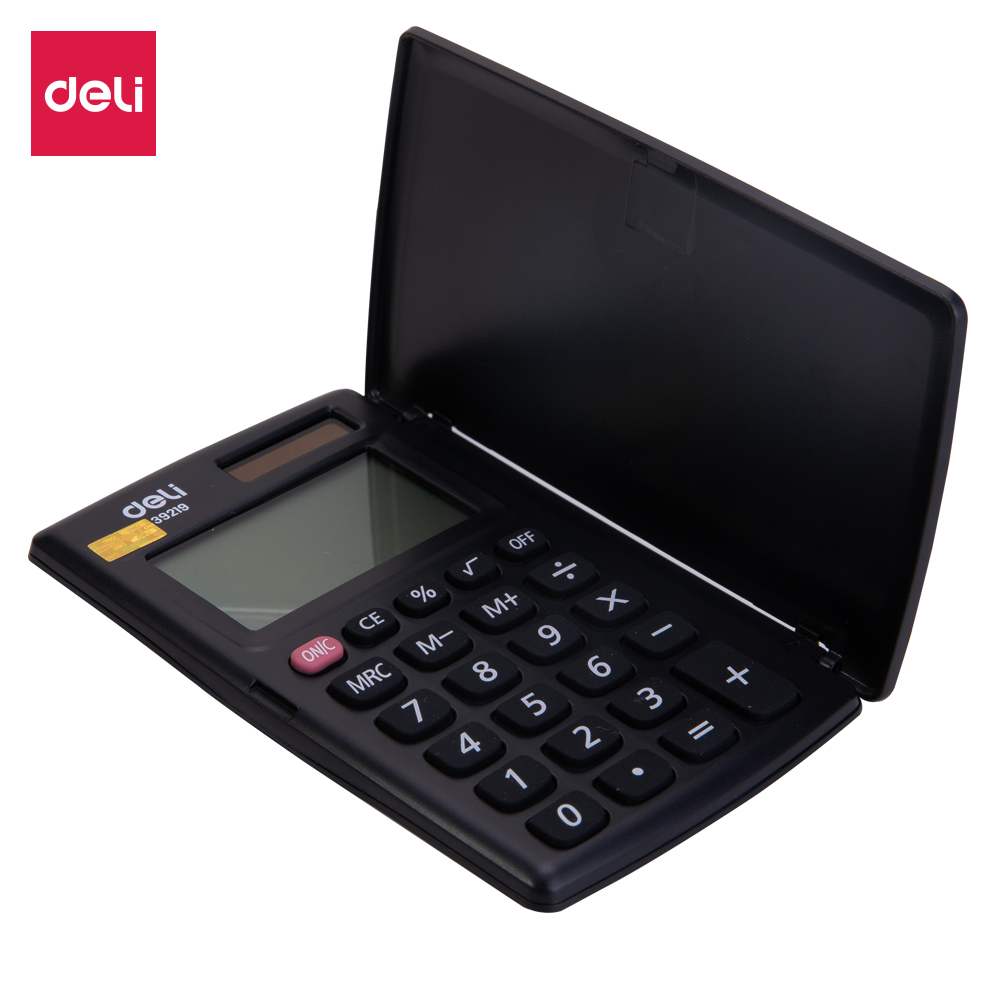 Deli E39219 Portable Calculator - Pocket Calculator 8-digit Cover - Battery Solar Dual Power