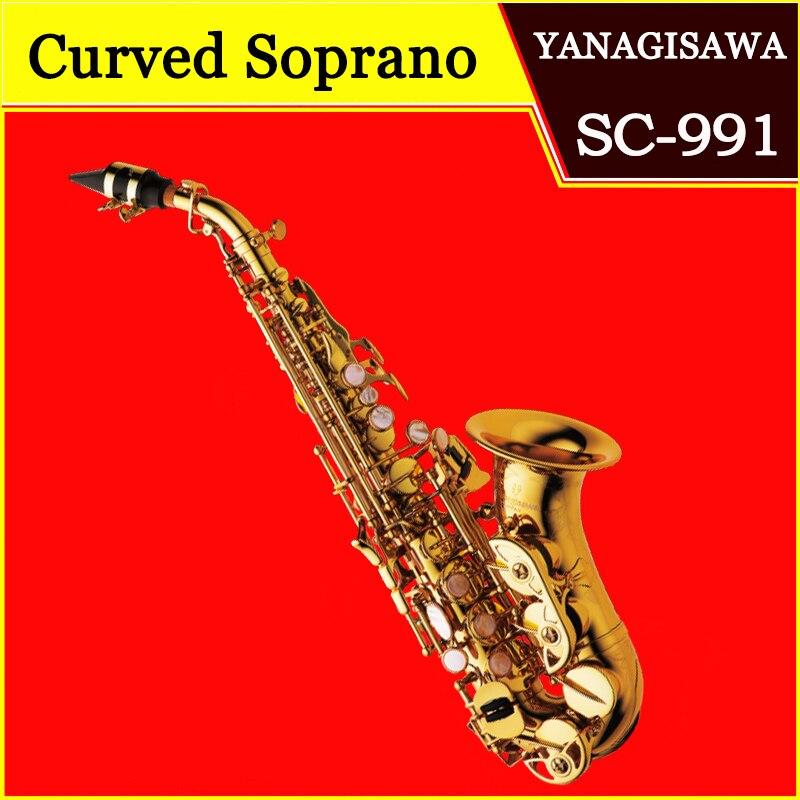 Янагисава изогнутые сопрано саксофоны SC-991 лак золото латунь Sax Saxofone Professional музыкальный инструмент с случае мундштук