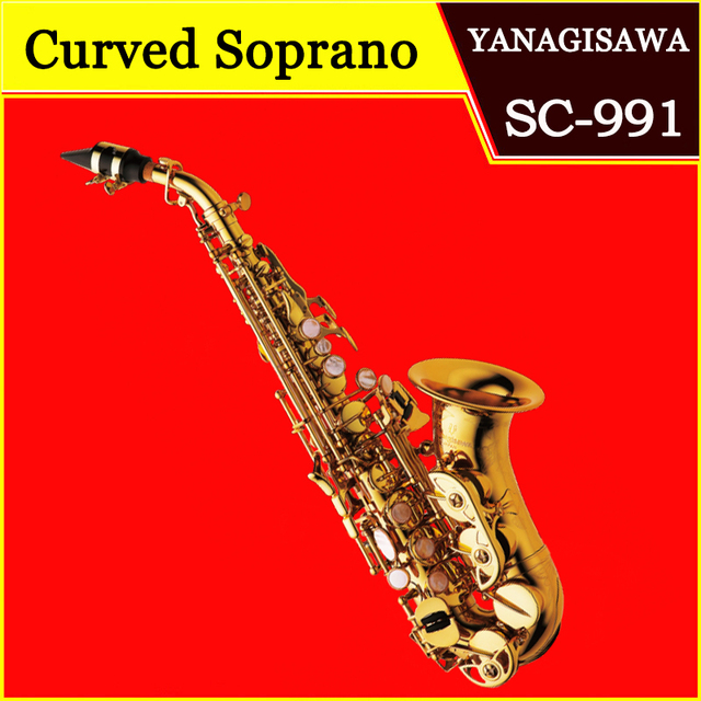 YANAGISAWA Curved Soprano Saxophone SC-991 Lacquer gold Brass Sax Saxofone Professional Musical instrument with case Mouthpiece