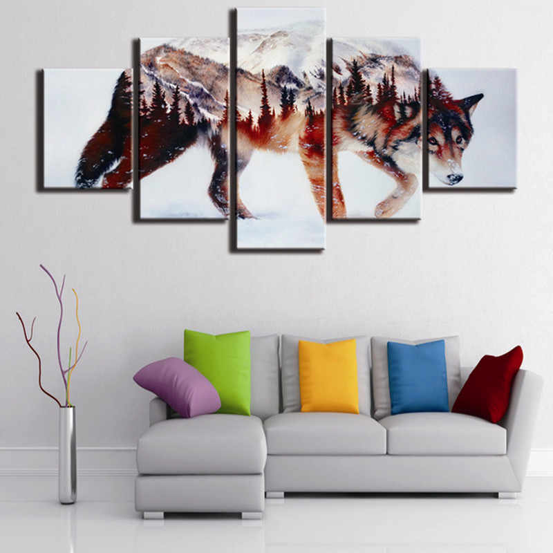 5d 5pcs landscape Wolf 5d Snow Wolf diamond painting crystal diamond embroidery spuare&round crystal painting cross stitchsets