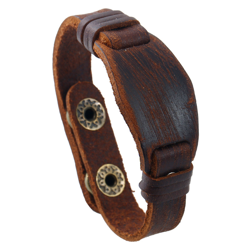 Fashion Vintage Men Jewelry Ethnic Retro Brown Wide Genuine Leather Cuff Bracelet Wristbands Wrap Casual Punk Charm Bangle Gift