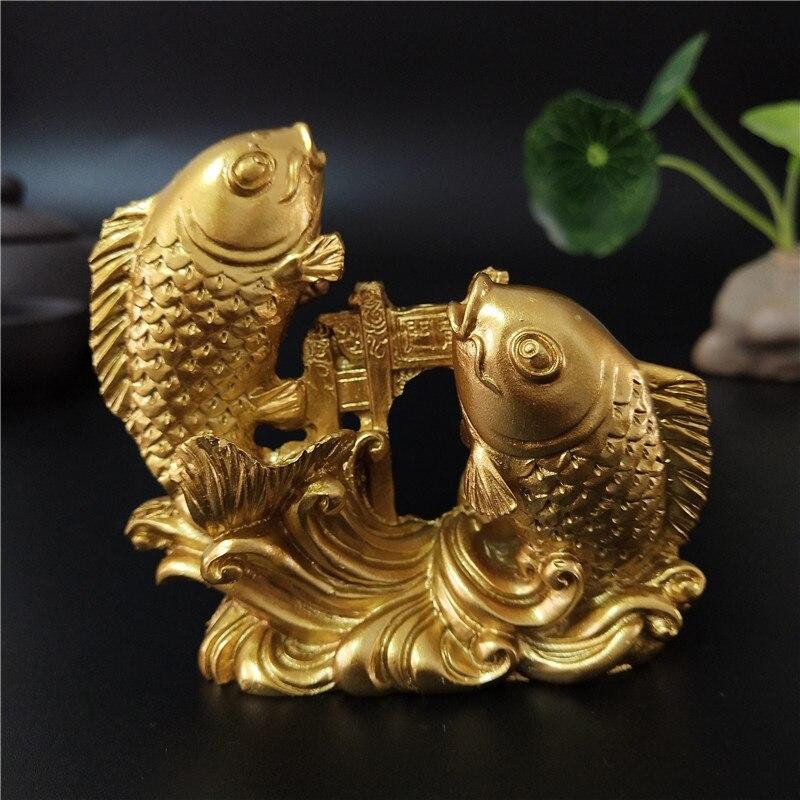 Ouro chinês feng shui buda estátuas mão esculpida escultura animais estatuetas de peixes artesanato ornamentos acessórios de decoração para casa