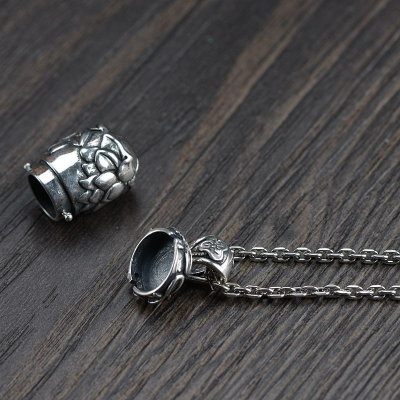 Gerçek 925 Ayar Gümüş Buda Lockets Yüzer Mantra Lotus Kolye - Kostüm mücevherat - Fotoğraf 4