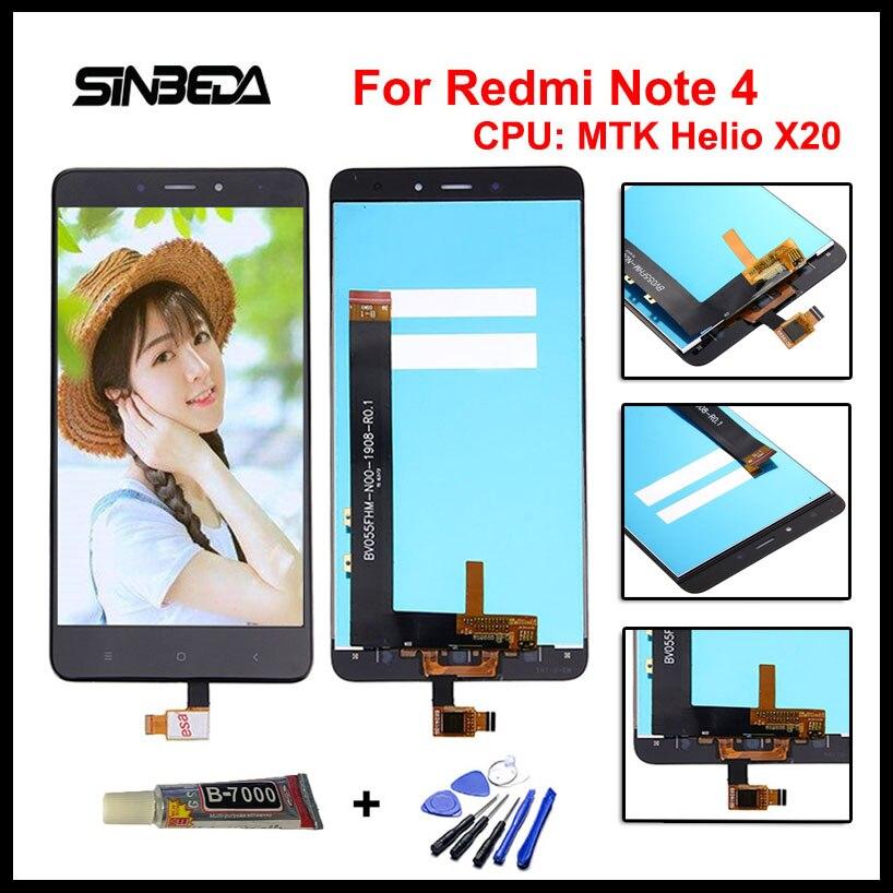 Sinbeda 5.5 100% Test Écran lcd Pour Xiaomi Redmi Note 4 MTK Helio X20 Écran LCD + Écran Tactile Digitizer Assemblée Complet