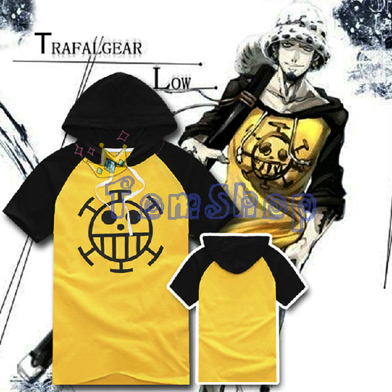 Anime One Piece Trafalgar Law Cosplay Costume Men Women Hooded Tee Shirts Cotton Hoodie T-Shirt Size M-XXL Free Shipping