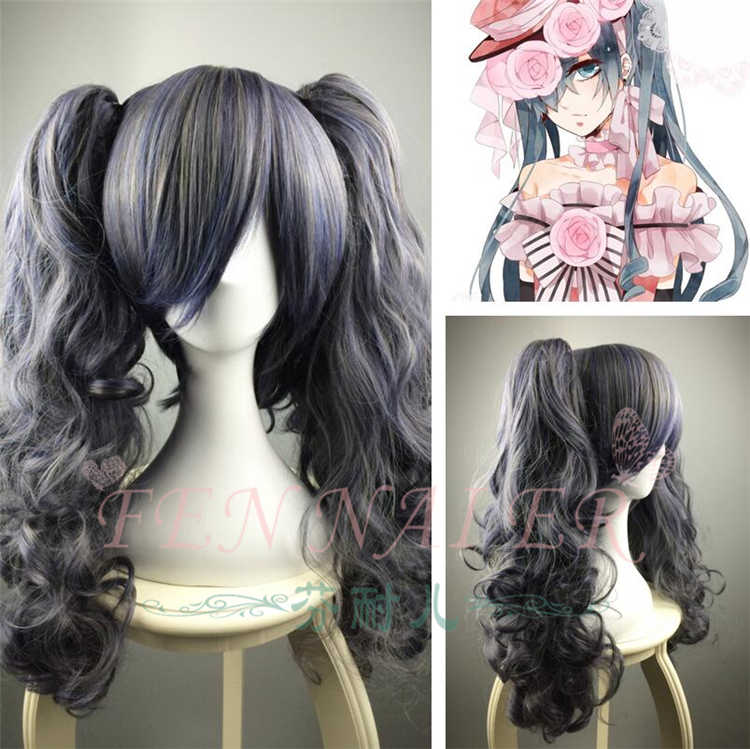 Tokyo Black Butler Anime Women ciel Cosplay Wig  Comic Con Role Play Ciel Grey blue ponytails hair costumes