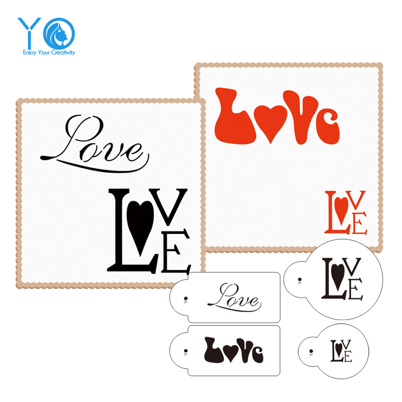 4pcs/lot Love Cookie Stencils Fondant Molds Cookie Mold Cake Stencils - Kitchen, Dining and Bar - Photo 1