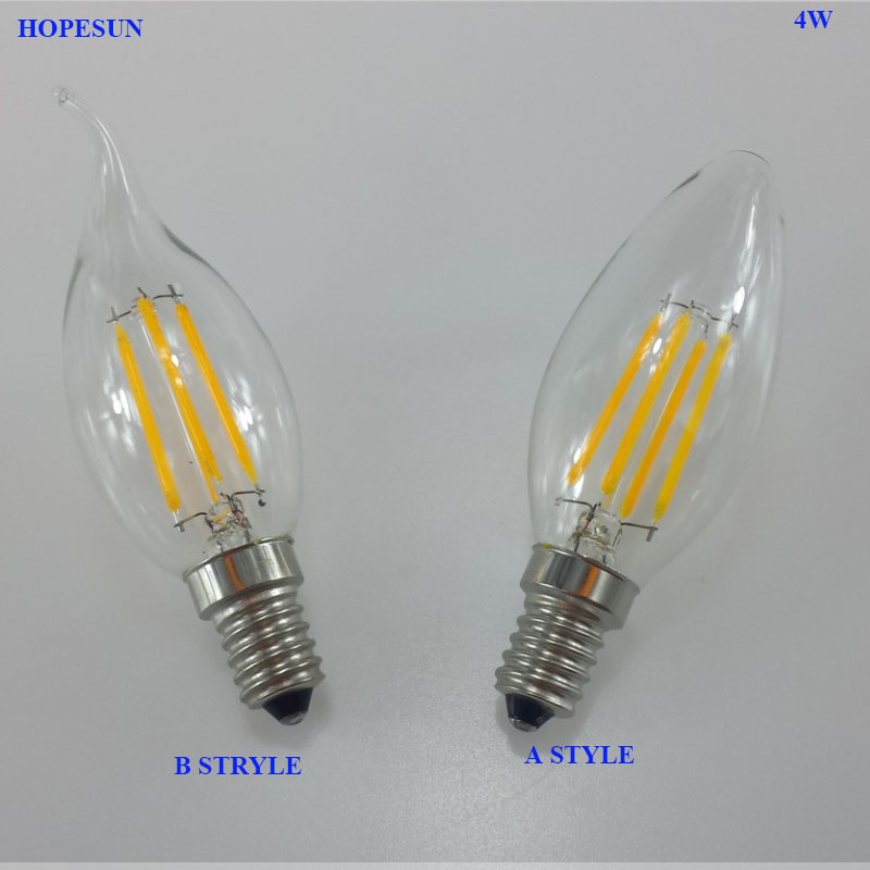 High quality e14 110v 220v 4w led lamp filament led for Lampada led e14