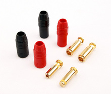 2 Pair/Set Red & Black Amass Anti Arcing AS150 Gold-plating Anti Spark Connector 7mm / HV High Power Battery Plug Connecting