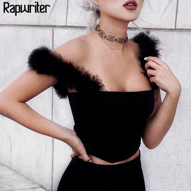 Rapwriter <font><b>Sexy</b></font> Solid Color Fur Patchwork Spaghetti Strap <font><b>Cropped</b></font> <font><b>Tops</b></font> <font><b>2018</b></font> Backless Streetwear Bralet Camis Bustier Camisole image