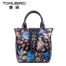 Famous brand top quality dermis women bag  National wind hand bag Chinese style painting printing handbag Retro bucket bag