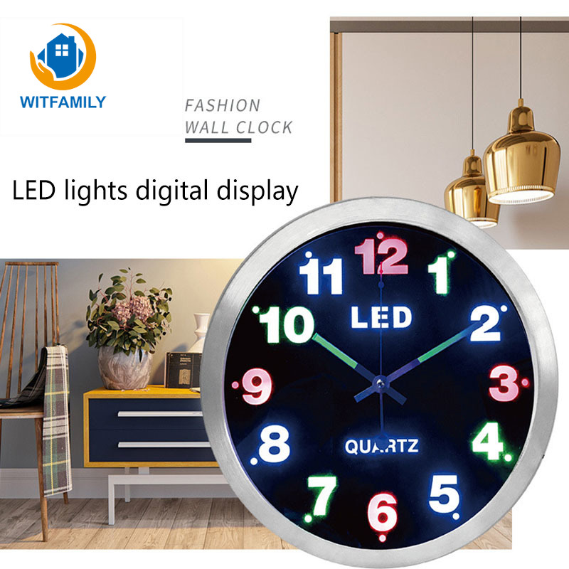 12 Inch Simple Digital Metal LED Lights Fluorescent Luminous Clock Home Decoration Wall Clock Living Room Bedroom Watch