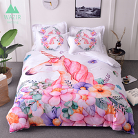 WAZIR 3D Watercolor unicorn bedding Cartoon Bedroom Bedding Set duvet cover set Pillowcases Home textile bedclothes bed linen