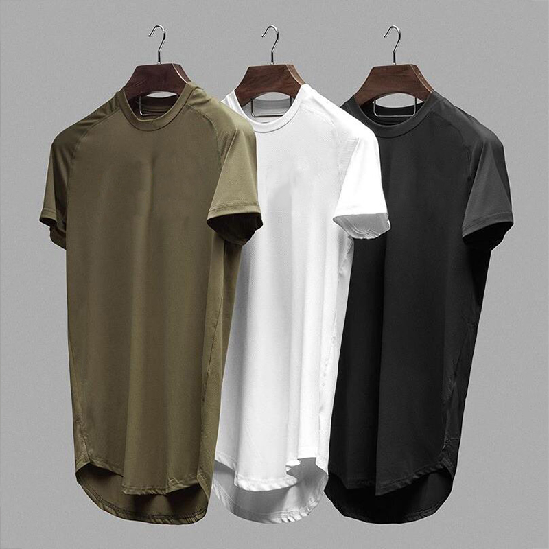 Mesh T-Shirt Clothing Tight Gyms Mens Summer New Brand Tops Tees Homme Solid Quick Dry Bodybuilding Fitness Tshirt