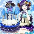 Japanese Anime Love Live Tojo/Umi/Eli/Hanayo/Nico/Rin Uniforme de Empregada Princesa Lolita Doce vestido Cosplay Traje um tamanho