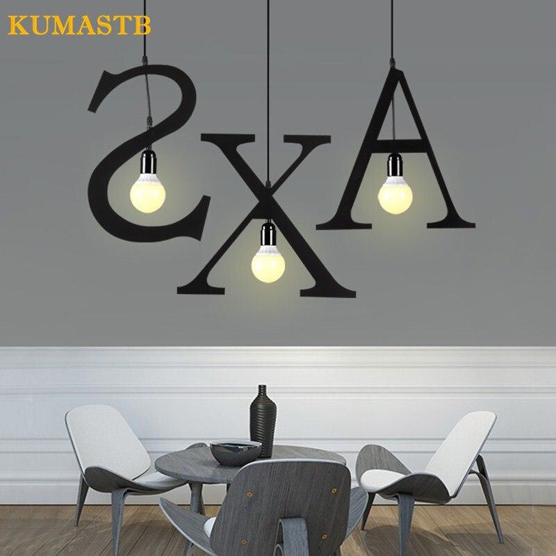 Bricolage Alphabet forme luminaire fer lettres pendentif lumière Loft industriel cuisine Bar pendentif lampe étude Restaurant accrocher lampe