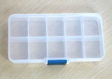 1 Set Clear plastic Storage Case Box Holder Container Pills Jewelry Nail Art Tips 10 Grids