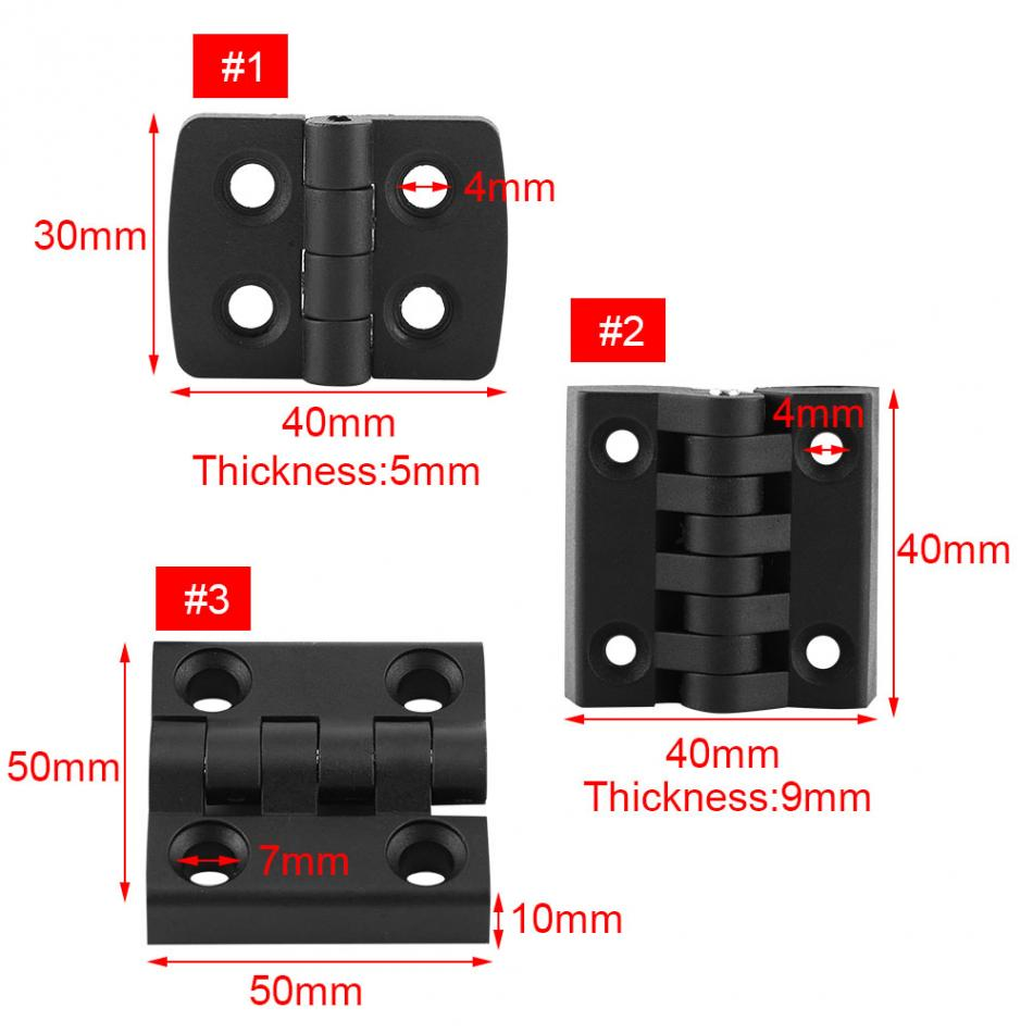 Image 2 - 10pcs/set Black Color Nylon Plastic Butt Hinge for Wooden Box Furniture Electric Cabinet Hardware-in Door Hinges from Home Improvement