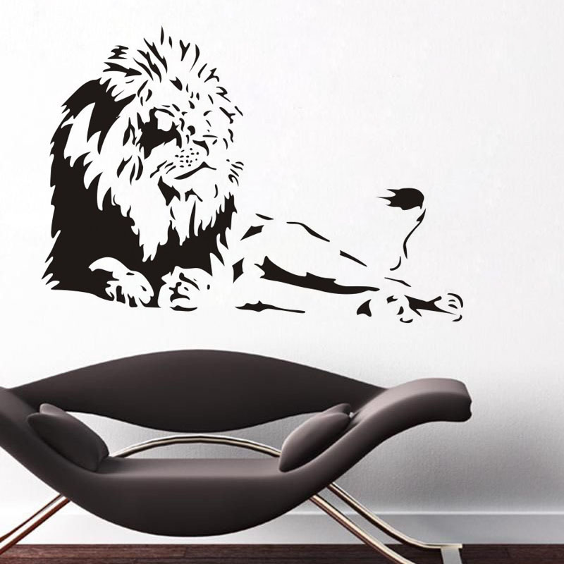 Black Domineering Big Lion Art Mural Vinyl Wall Stickers Office Sofa Background Decoration Home Interior Posters Wall Decals Art