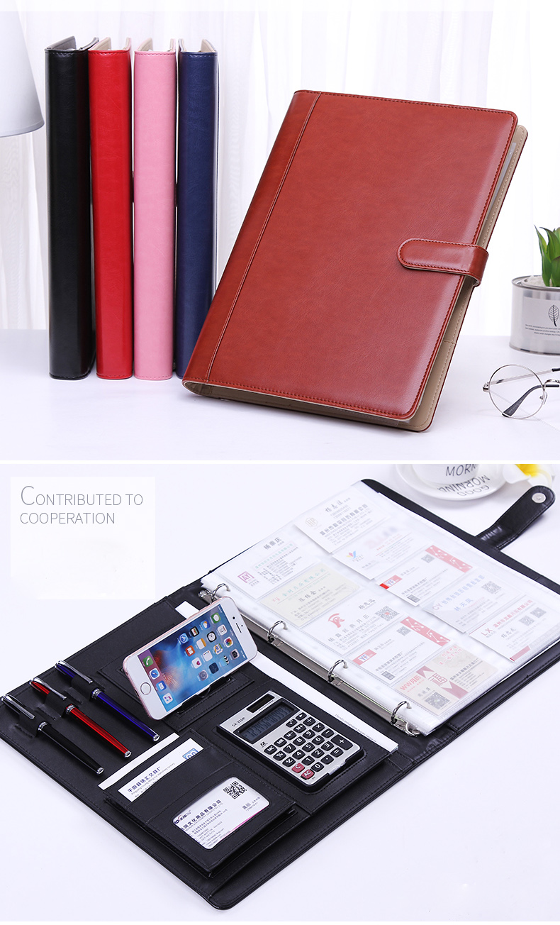 Folder Multi-function A4 Custom Contract Folder Leather Sales Manager Entrainment Calculator Talk Single Business Folder