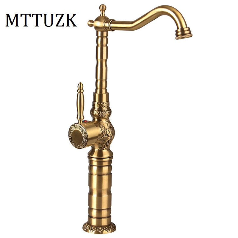 MTTUZK Deck Mounted Antique Brushed Bronze Bathroom Faucet Basin Height Up  Carved Faucet Hot And Cold