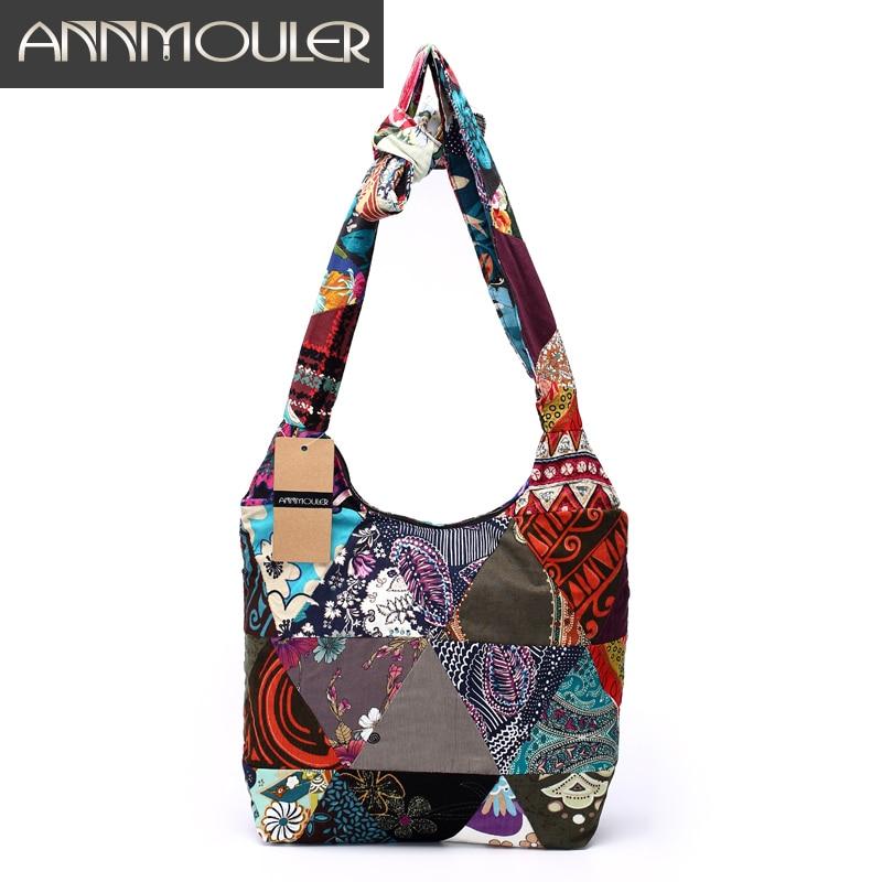 Annmouler Brand Women Sling Shoulder Bag Cotton Fabric Handbags Hippie Patchwork Hippie Bag Large Messenger Bag Floral Hobo Bag annmouler women shoulder bag high