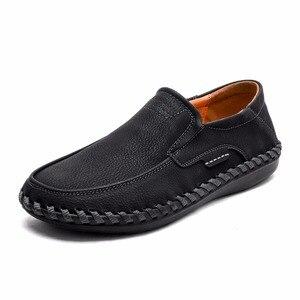 Image 5 - Mocasines planos de cuero partido para hombre, calzado informal de talla grande 46, para otoño