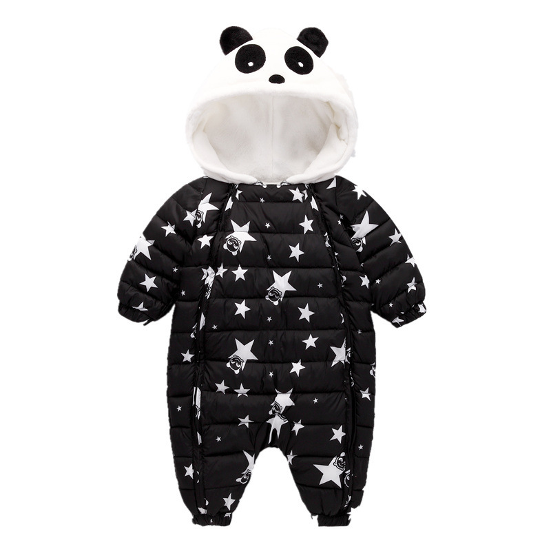 Image 3 - Waterproof Winter Warm Baby Boy Girl Bodysuits Flannel Liner Cotton Filler Newborn Baby Clothing Panda Modeling For 3 24 Months-in Rompers from Mother & Kids