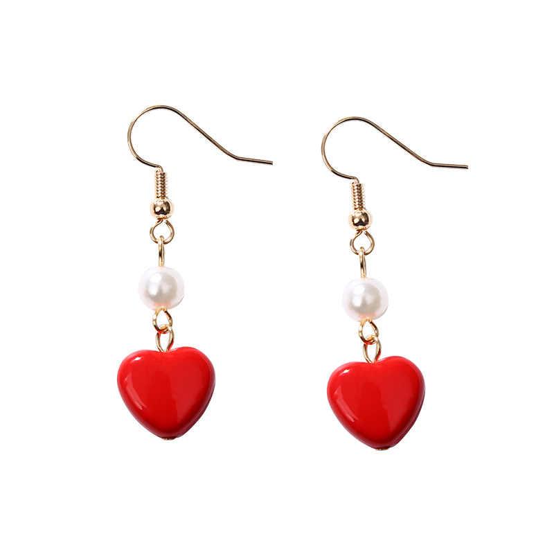 סוגים רבים זהב וו אדום לב מדומה פנינה ירוק עלה להתנדנד עגילי נשים Drop עגילים