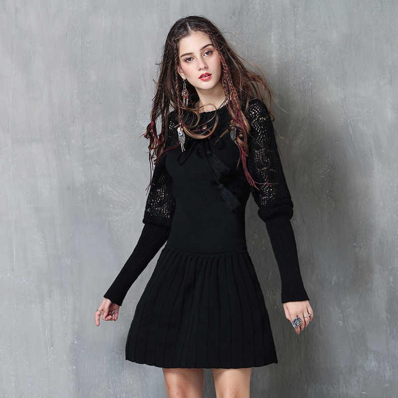 נשים שמלה 2017 Yuzi. may Boho ניו כותנה צמר שרוול פנס O-צוואר אונליין קפלים שמלות Vestidos A82058 Vestido Feminino