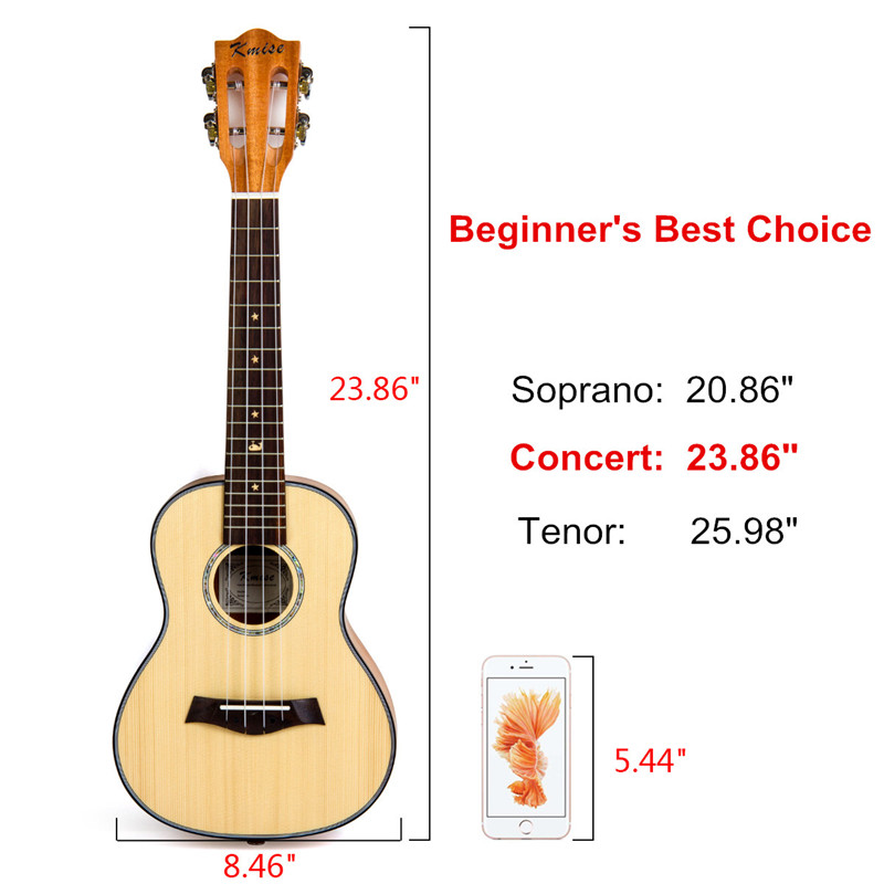 Kmise Concert ukulélé épicéa massif acajou guitare classique tête 23 pouces Ukelele Uke 4 cordes Hawaii guitare - 5