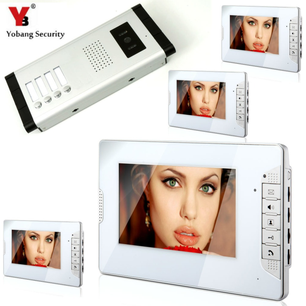 YobangSecurity 7 Inch HD Color Cable Video Door Phone Video Door The System Intercom Doorbell Home Parts 4 Unit Apartment Kit
