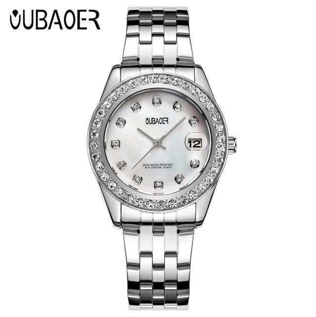 4fd2e76c399 2017 Marca OUBAOER Prata Quartzo saat Estilo Casual Relógios relogio  feminino Relógio de Pulso de Aço