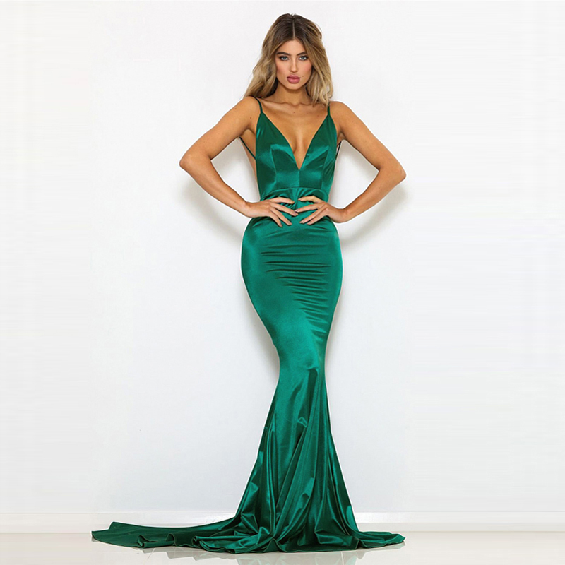 Green Satin Dress Spaghetti Strap Open Back Backless Mermaid Dress Evening Party Summer Dress