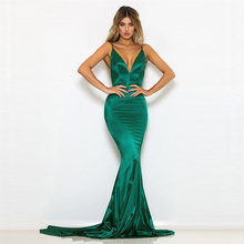 Green Satin Dress Spaghetti Strap Open Back Backless Mermaid Dress Evening Party Summer Dress spaghetti strap satin wrap dress