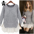 ACHIEWELL Autumn Women Sweater Stitching Lace Long Sleeve O Neck Lace Ruffles Blouses Womens Pullovers Elegant Grey Tops