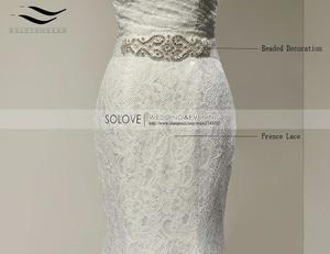 Image 4 - Свадебное платье, реальные фотографии, белое кружевное дешевое свадебное платье Русалка со шлейфом, 2018, винтажное свадебное платье с поясом, 2018