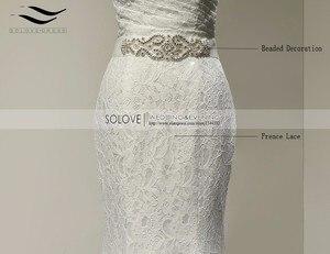 Image 4 - Bridal Wedding Gown Real Photos White Lace Cheap Mermaid Wedding Dress Train 2018 Vintage Sash vestido De noiva 2018 SLD W001